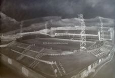 Hibernian Easter Road - Graphite  20'' x 30'' approx poster print